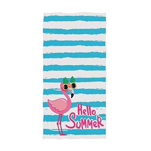 OCEAN AN Tropical Flamingo Lindo con Gafas en Verano Rayado Suave Invitado Altamente Absorbente Gran hogar Decorativo Toallas de Mano Multipropósito (15.7'x27.5)