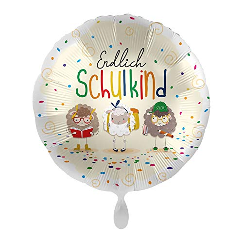 partydiscount24 Folienballons Schulanfang - Freie Motivwahl Ø 45 cm +2 Gratis Luftballons Bunt gemischt Ø 30 cm (Endlich Schulkind (Tiere))