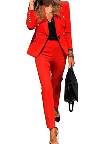 Minetom Completo da Donna Due Pezzi Slim Fit Business Blazer d'Affari Elegante Ufficio Cappotto OL Giacca e Pantaloni A Rosso 42