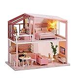 Kit de casa de muñecas para bricolaje, kit de casa de muñecas en miniatura, bricolaje, juguete de Villa montado en madera hecho a mano para regalo de niñas