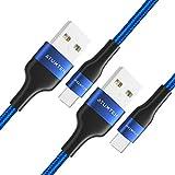 ATUMTEK USB Typ C Kabel [2 Pack, 2M] USB A 2.0 auf USB C Nylon Geflochtenes Ladekabel für Samsung Galaxy S10/S9/S8, Note 10/9/8, Huawei, MacBook, LG, Google, OnePlus & Mehr - Blau