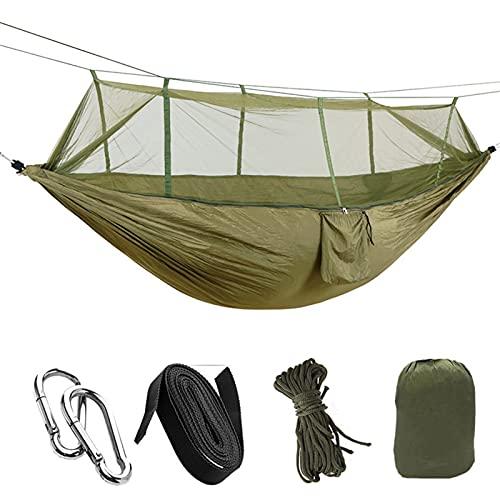 FDSJKD 1-2 Person Tragbare Outdoor Camping Hängematte mit Moskitonetz Hohe Festigkeit Fallschirm Stoff Hängendes Bett Schlafschwinge (Color : Green)