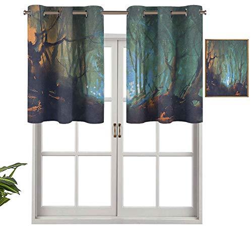 Hiiiman Cenefa opaca con ojales de alta calidad, reflejo del bosque en el lago profundo oscuro místico, ilustración surrealista, juego de 1, paneles opacos decorativos para el hogar de 127 x 45 cm