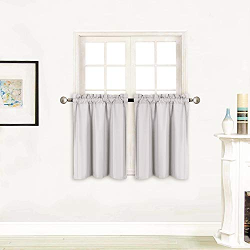 "Better Home Style 100% Blackout 2 Tiers Window Curtain Insulated Drapes Short Panels for Kitchen Bathroom Basement RV Camper or ANY Small Window M3024 (Light Grey / Silver, 2 Panels 28""W X 24""L Each)"