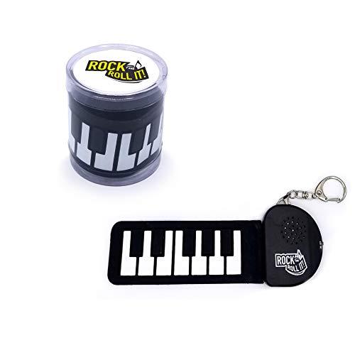 MUKIKIM Rock and Roll It - Micro Piano. The Original Mini Size Black & White Keys Piano. Clip Keychain for Hanging On The Backpack. Portable Silicone Electronic Finger Piano Pad. Battery Included