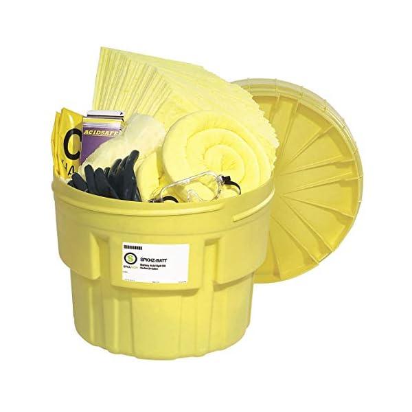 SpillTech Hazmat Overpack Salvage Drum Battery Acid Spill Kit, 20 Gallon, 60 Pieces (SPKHZ-Batt)