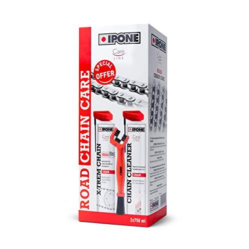Ipone IP800736 Pack Mantenimiento Moto Carretera Care Cleaner X-TREM Road 750 ML + Un Cepillo para cadena