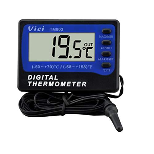 Dhmm123 Digital Thermometer TM803 Kühlschrank- / Gefrierthermometer Großes digitales LCD-Thermometer mit Alarm -50 bis 70 ℃ Magnetisches Wandfenster Gefrierfach Oberflächenthermometer Spezifisch