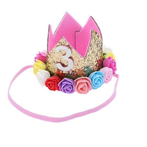 Frcolor Bébé Anniversaire Couronne Rose Doré Bandeau Diadème Princesse Fleurs Couronne Taille 3 Ans