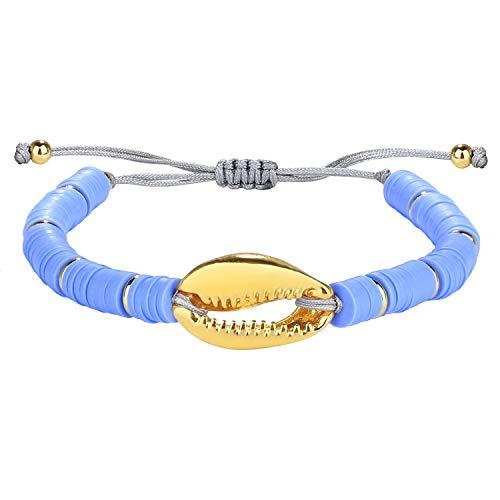Kanyee Femmes Bracelets Rang De Perles en Heishi Bracelet Pendentif en Perle De Coquillage Doré Plaqué Fait A La Main Bracelet D'amitié Bohémien