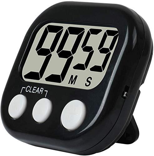 Herfair - Temporizador de cocina digital con temporizador de cocina y cuenta regresiva magnética, pantalla LCD grande y alarma fuerte negro