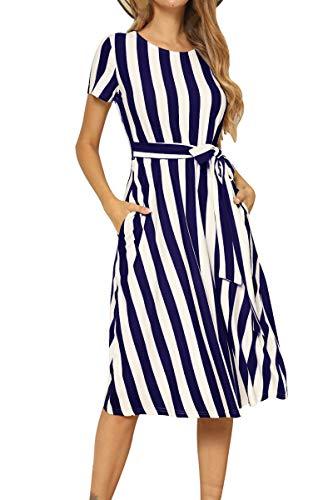 levaca Womens Striped Casual Elastic Waist Tunic Beach Belt Midi Dress Deep Blue M