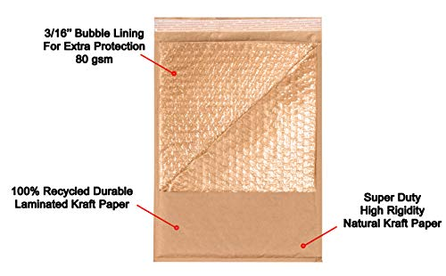 AMZ Supply Natural Kraft bubble mailers 6x9 Brown Padded envelopes 6 x 9 by Amiff. Pack of 20 Kraft Paper cushion envelopes. Exterior size 7x10 (7 x 10). Peel and Seal. Mailing, shipping, packaging. Photo #6