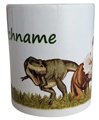 T-Rex Dinosaurier Tasse mit Wunsch Namen - TapirElla - Lutz Mauder Porzellan Becher