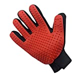 Hound & Yard Professional Pet Grooming Glove Dog Cat Animal Gloves Groomers Deshedding Hair Remover Brush Removal Tool with Soft Silicone Tips Single (Red Right Hand)