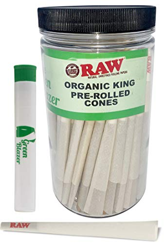 Raw Pre Rolled Cones Organic King: 100 Pack - King Size Rolling Papers with Filters - Raw Cone Made of Plant Fiber- Includes Green Blazer Doob Tube