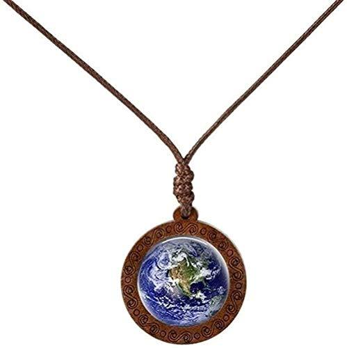 LDKAIMLLN Co.,ltd Necklace Fashion Glamor Galaxy Nebula Necklace Space Earth Glass Convex Round Wood Pendant Necklace ornament-15 Fashion Pendant Necklace Gift for Men Women Girls Boys