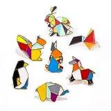 ZSCZQ Colorido Geométrico Origami Animal Broches Grúa Gato Conejo Cisne Oso Elefante Caballo Pingüino Alfileres de Esmalte Bolsa Insignia de Metal Joyería Ardilla