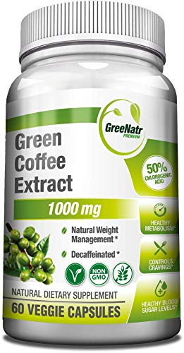 Green Coffee Bean Extract 1000 mg, 50% Chlorogenic Acids, Non-GMO, Gluten Free, Vegan Antioxidant Capsules. Natural Weight Management and Blood Sugar Control Support, 60 Veggie Caps - AS SEEN ON TV