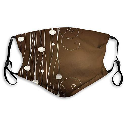 Face Shield,Schokolade, Abstrakte Blumen Mit Gepunkteten Linien Vintage Inspirationen In Romantischer Komposition, Beige Brauner Leichter Mundschal,20x15cm