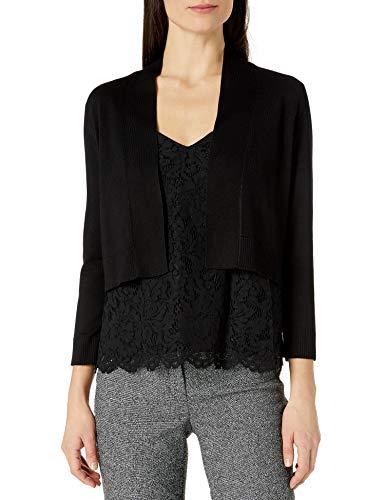 Calvin Klein Women's 3/4 Sleeve Knit Shrug, Black 16, Medium