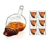 Hefete, set di 7 bicchieri da vino con teschio, 1 bottiglia da 750 ml e 6 bicchieri a forma di teschio da 75 ml, in cristallo, ideali per feste, bar, cene