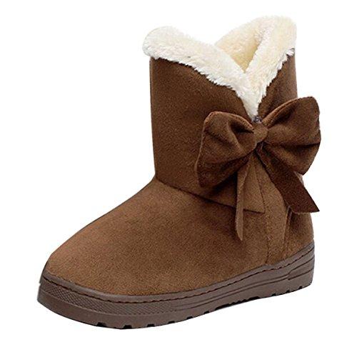 Minetom Damen Schuhe Bow Tie Stiefeletten Winter Fur Boots Winterstiefel Warm Casual Flats Bequeme Boots ( Kaffee EU 36 )