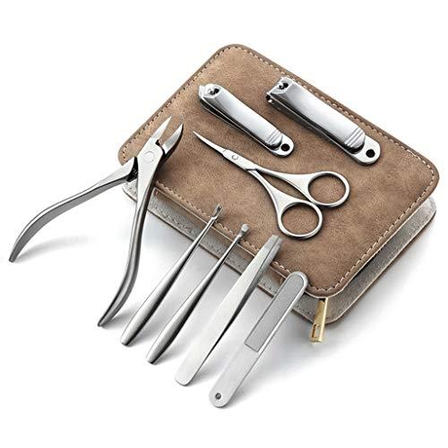 ZANZAN - Kit de cortaúñas para caza-clavo, uñas y cortador de uñas de acero inoxidable, juego de 8 piezas con estuche de piel de lujo portátil para hombres