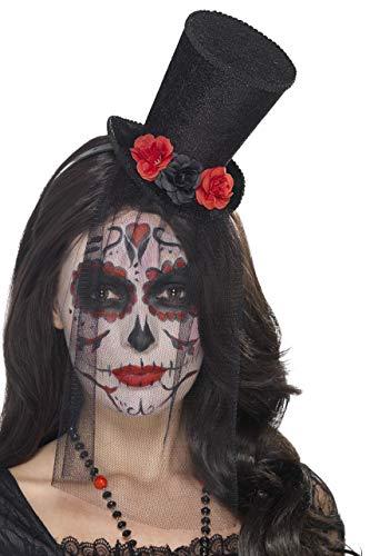 Smiffys Mini haut-de-forme Jour des morts, Noir, sur bandeau, avec roses et voile en den