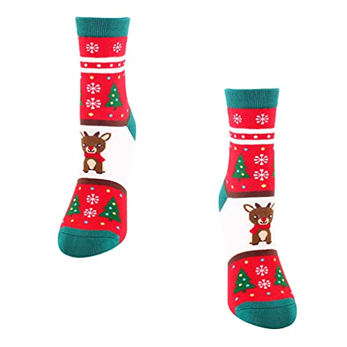 Generic 1 Paar Weihnachten Socken Baumwolle Winter Warme Gemütliche Socken Fuzzy Strümpfe Cartoon Modellierung Mid- Kalb Länge Socken Neuheit Weihnachten Geschenke Elch