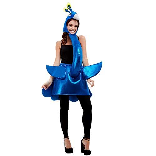 NET TOYS Witziges Pfau-Kostüm für Damen - Blau - Originelle Party-Verkleidung Paradies-Vogel - EIN Blickfang für Fasching & Fastnacht