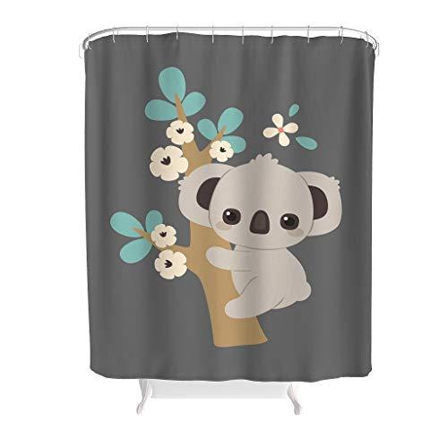 Gamoii Tier Künstlerische Wirkung Koala Duschvorhang Bad Gardinen 3D Digitaldruck Dusche Vorhang Badezimmer Decor Shower Curtain mit Duschvorhangringen White 200x200cm