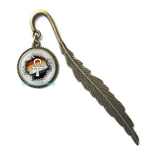 Ankh Segnalibro con croce simbolo della vita antico egiziano, gioielli religiosi cabochon maglione segnalibro alla moda, Q0285