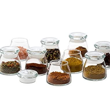 Libbey Vibe Mini Glass Spice Jars with Lids, Set of 12 (Frustration Free Packaging)