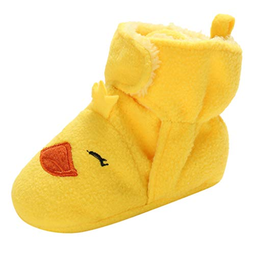 Unisex Newborn Super Cute Cartoon Shoes Hook-Loop First Walkers Soft Sole Shoes Cotton Boots Best Gifts for Baby Girls Boys (-Yellow, Age:0-3Months)