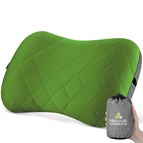 Hikenture Camping Pillow with Removable Cover - Ultralight Inflatable Pillow for Neck Lumber Support - Upgrade Backpacking Pillow - Washable Travel Air Pillows for Camping,Hiking, Backpacking, Green