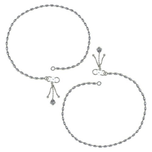 Argento cavigliere Hallmarked 925 perla catena indiana 25,4 cm