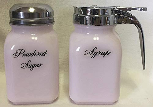 Breakfast Set - Syrup and Powdered Sugar - Glass - American Made (Crown Tuscan Pink Glass)