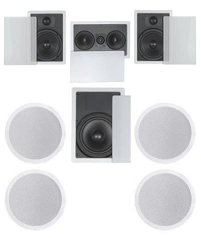 7.1 Home Theater Flush Inwall/Ceiling Speaker Package- Two Inwall 6.5' 2-Way Speakers, One Inwall Dual 5.25' 2-Way Center Speaker, Four Ceiling 6.5' 2-Way Speakers, and One 8' Inwall Subwoofer
