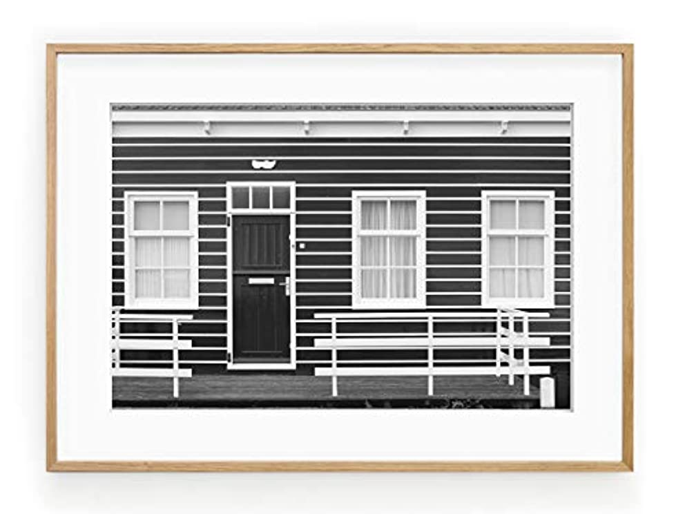 North Fa?ade White Varnished Wood Frame with Mount, Multicolored, 50x70