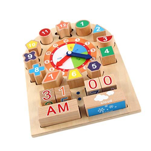 TOYANDONA Clasificación de Forma Cubo Reloj de Madera Bloques de Construcción Geometría Forma Color Clasificación Tiempo Aprendizaje Juguete Educativo para Niños Pequeños