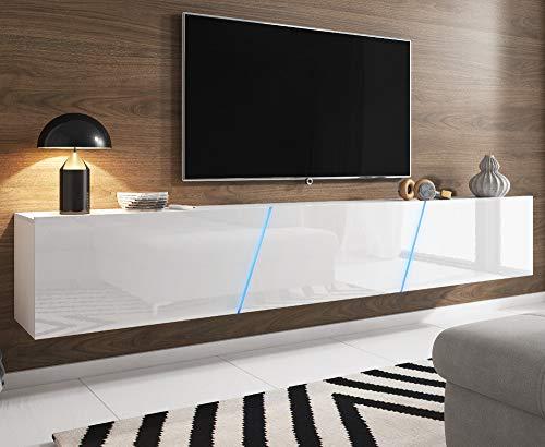 Space TV-Unterteil hängend oder stehend Lowboard inkl. RGB Beleuchtung 240 x 35 cm (Hochglanz weiß/weiß Dekor)