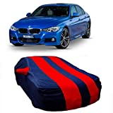 DRIZE Car Cover for BMW 320D with Triple Stitched Fully Elastic Ultra Surface Body Protection (Strips Red with Mirror Pockets)