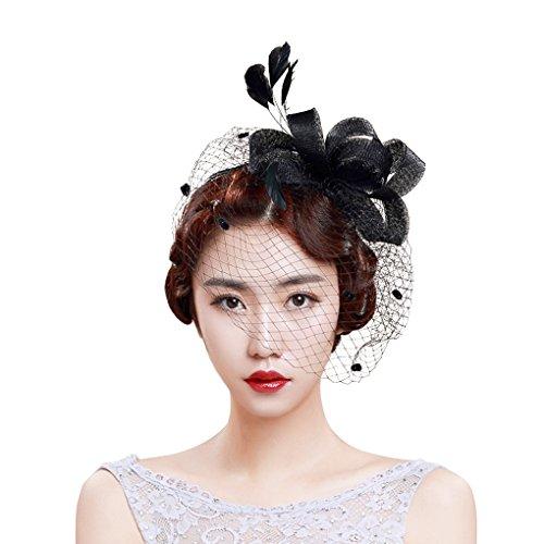 YJZQ Bibi Femme Voilette de Visage avec Pince de Crocodile Épingle à Cheveux Accessoire Mariage Fleur Voile Dentelle Voile Elégante Voile Mariée Bandeau Charmant en Noeud Papillon