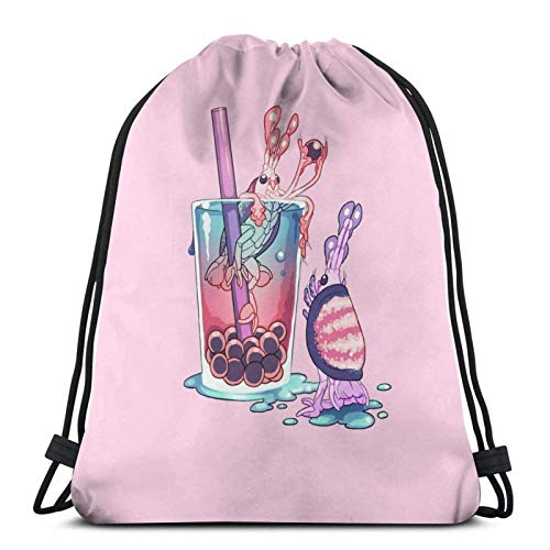 LREFON Drawstring Bag Alien Sweets Scud Boba Floor Pillow Training Gymsack