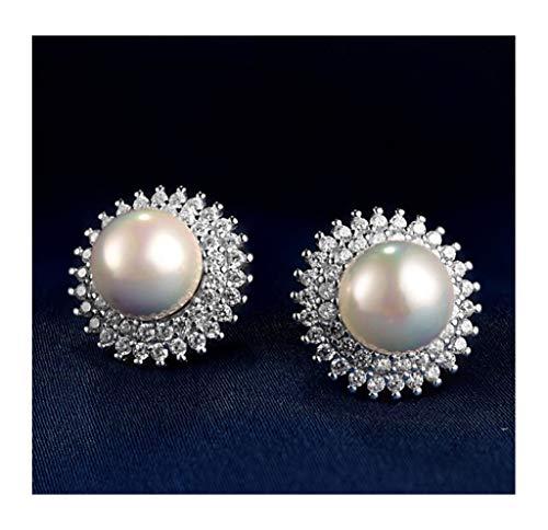 Jambala 925 aretes de Perlas de Plata, aretes de circonia cúbicos, se Pueden entregar a Madres y niñas como Regalos.