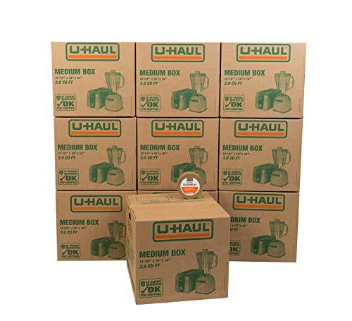 "U-Haul Medium Moving Boxes - Pack of 10 Boxes with Handles - 18"" x 18 1/8"" x 16""- Bonus Roll of Tape Included"