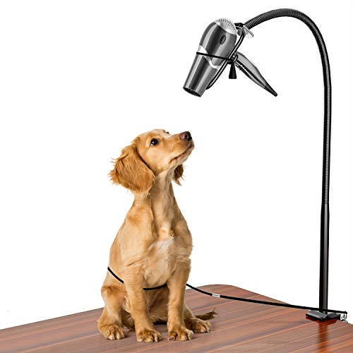 CROWNY Dog Pet Grooming Table Hair Dryer Stand Holder Hands,Hands-free Dryer Holder Arm, Table Clamp On Stand for Hair Styling, Dog Grooming with No-Sit Haunch Holder