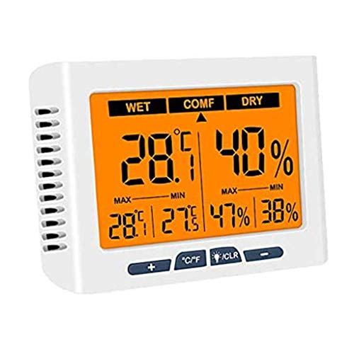 Dmqpp Indoor Digital Hygrometer Thermometer, Temperatur-Feuchtigkeits-Monitor mit Hintergrundbeleuchtung, deg; C/deg; F-Switch, Genauigkeit Kalibrierung, Max/Min Records Ideal for Haus, Büro