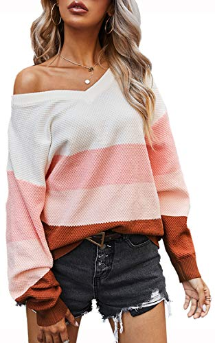 Angashion Women's Sweaters Casual One Off Shoulder Oversized Long Sleeve Color Block Patchwork Pullover Knit Sweater Tops 2086 Pink S